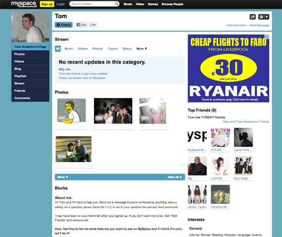 Старая версия MySpace