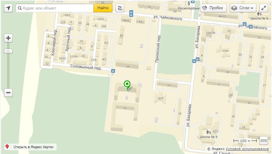 Пример интерактивной карты расположения ЖК