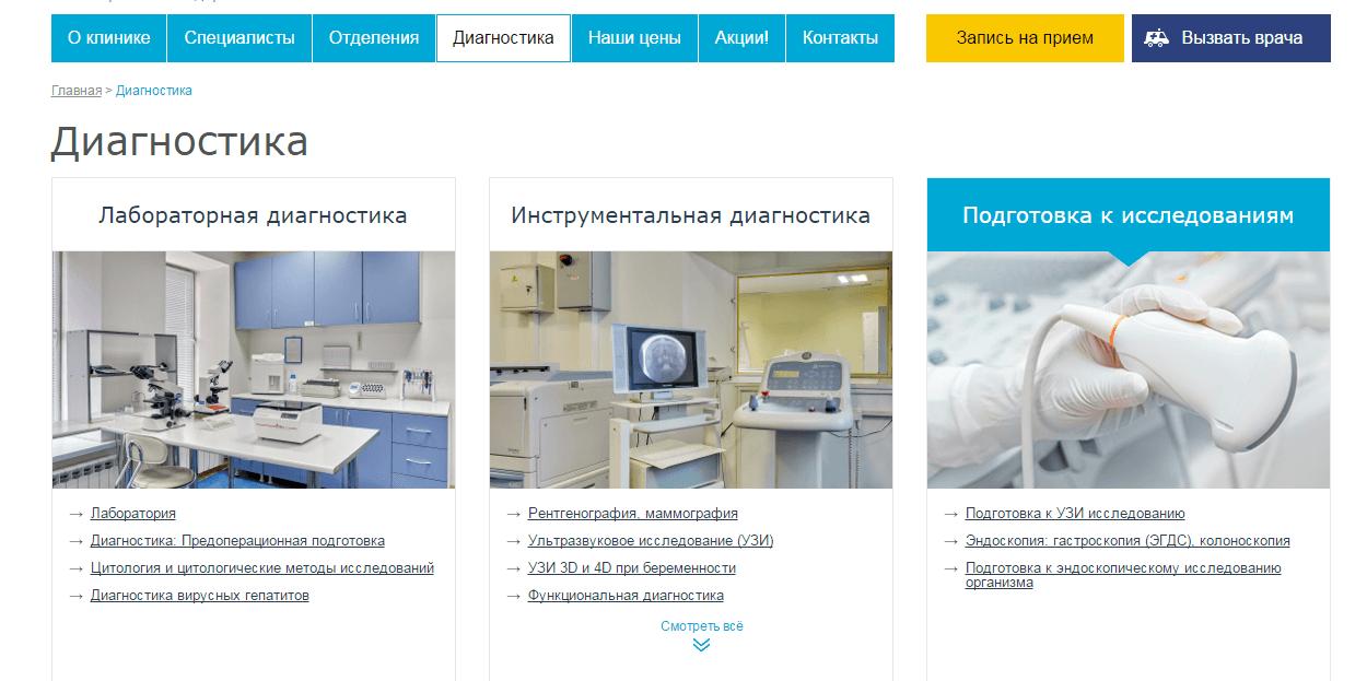 Вид страницы с детальным описанием услуг клиник