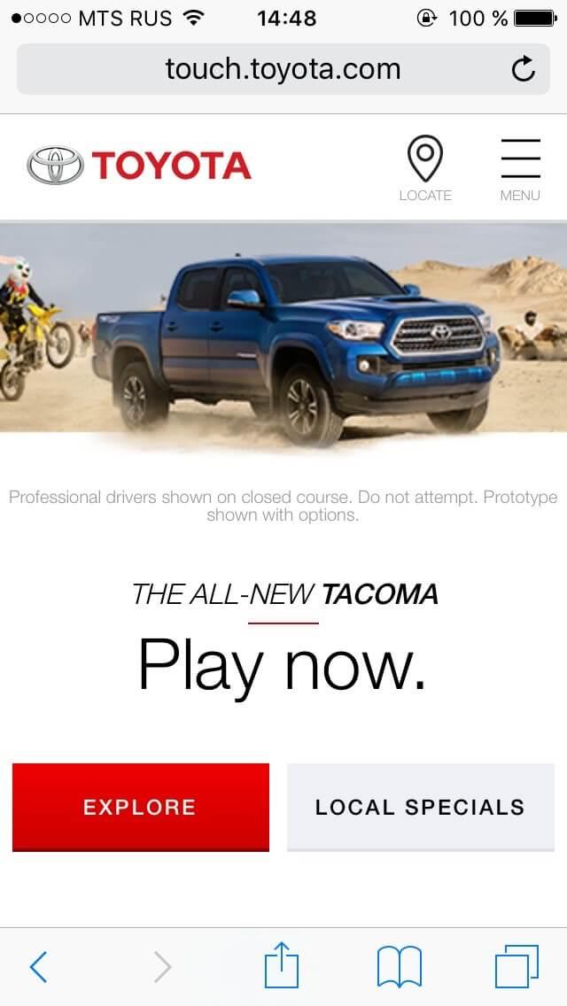 Toyota мобильная версия