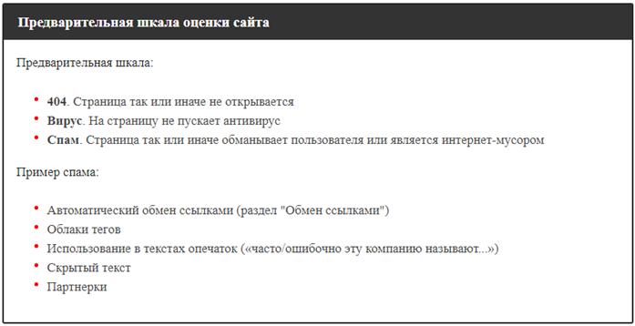 Предварительная шкала оценки сайта