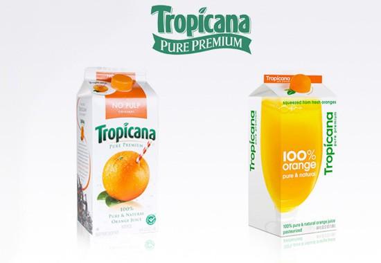 Старая и новая пачка сока Tropicana