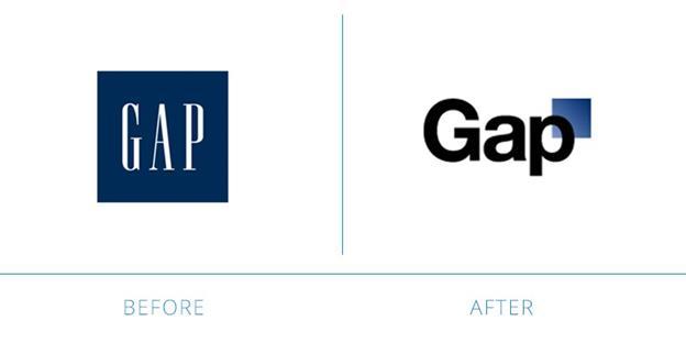 Старый и новый логотип фирмы Gap
