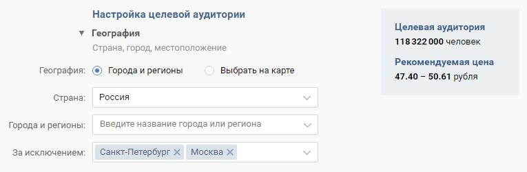 Цена объявления по России, за исключением Москвы и Санкт-Петербурга