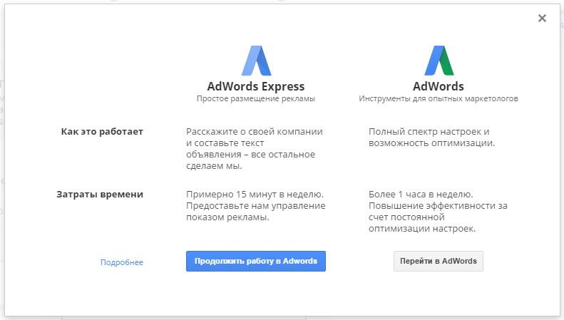 Простое размещение рекламы в AdWordsExpress и для профессиональных маркетологов в AdWords