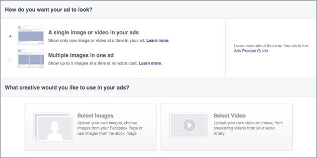 Выбор формата рекламы в Facebook
